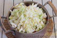 Фото приготовления рецепта: Овощное рагу с  кабачками, сладким перцем, белокочанной и цветной капустой - шаг №8