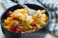 Фото приготовления рецепта: Овощное рагу с  кабачками, сладким перцем, белокочанной и цветной капустой - шаг №10