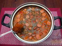 Фото приготовления рецепта: Куриный суп со сладким перцем, сосисками и консервированным горошком - шаг №17