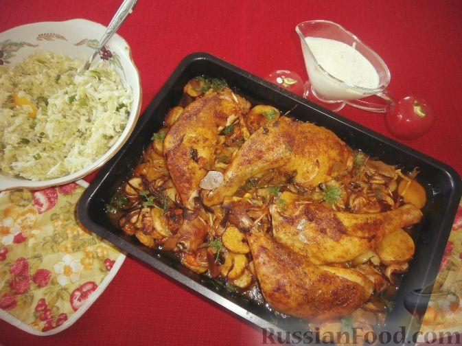 Жареная курица с картошкой в духовке рецепты пошагово в