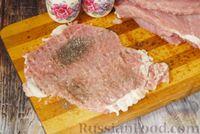 Фото приготовления рецепта: Мясные рулетики с сыром, маринованными огурцами и горчицей - шаг №3