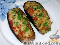Фото приготовления рецепта: Баклажанные лодочки с овощами и фаршем - шаг №10