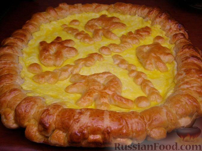 Рецепт Открытый дрожжевой пирог с творожной начинкой