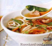 Фото к рецепту: Азиатский куриный суп с лапшой