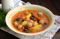 Фото к рецепту: Суп с фрикадельками и консервированной фасолью