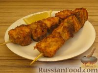 Фото к рецепту: Шашлычки из семги (на сковороде)