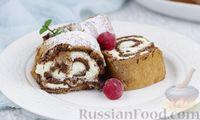 Фото к рецепту: Шоколадный меренговый рулет со сливочно-сырным кремом