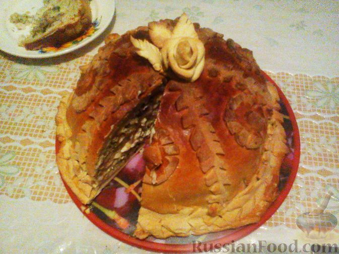 Рецепт Пирог курник из слоеного теста