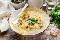 Фото к рецепту: Гречневый суп с морской капустой и консервированным горошком