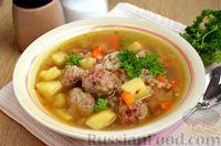 Фото к рецепту: Гречневый суп с жареными фрикадельками
