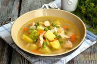 Фото к рецепту: Суп из сёмги с зелёным горошком и картофелем
