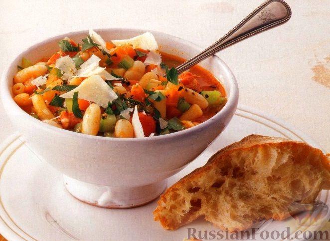 Рецепт Овощной суп с фасолью и макаронами