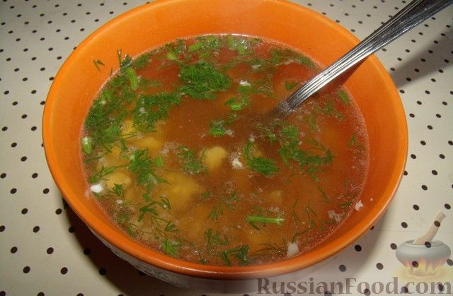 Рецепт Куриный бульон с рисом и яйцом