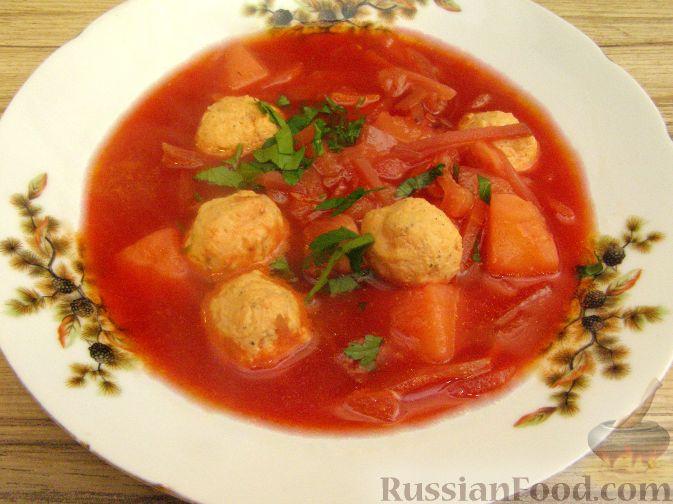 Рецепт Красный борщ с фрикадельками