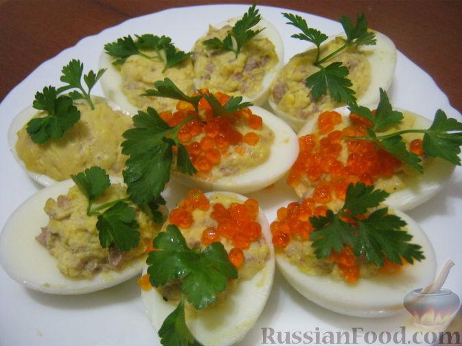 Рецепт Яйца, фаршированные печенью трески