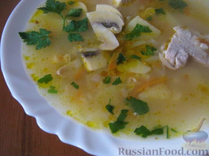 суп со свининой с шампиньонами и картофелем рецепт