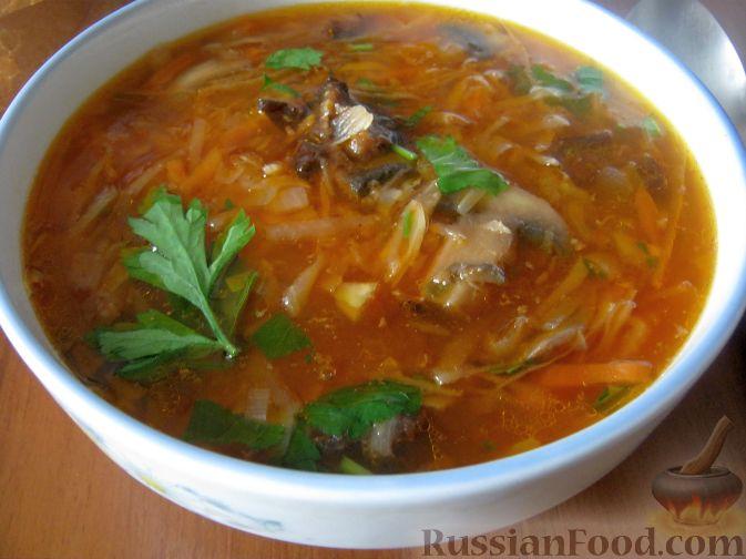 Рецепт Борщ с грибами и черносливом