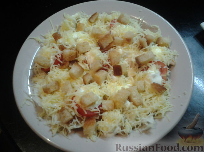 рецепт салата цезарь с курицей ,помидорами,майонезом