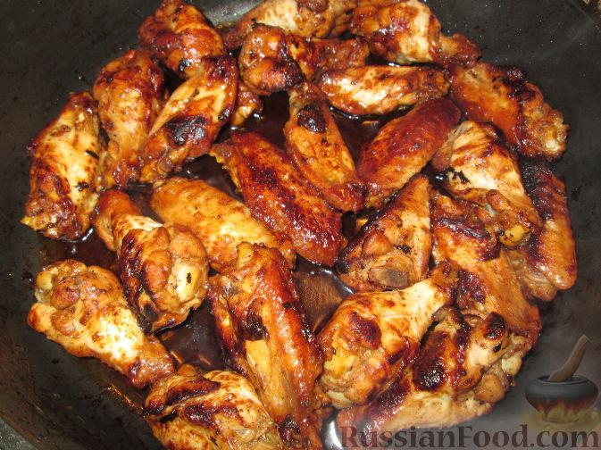 рецепт медовых крылышек на сковороде