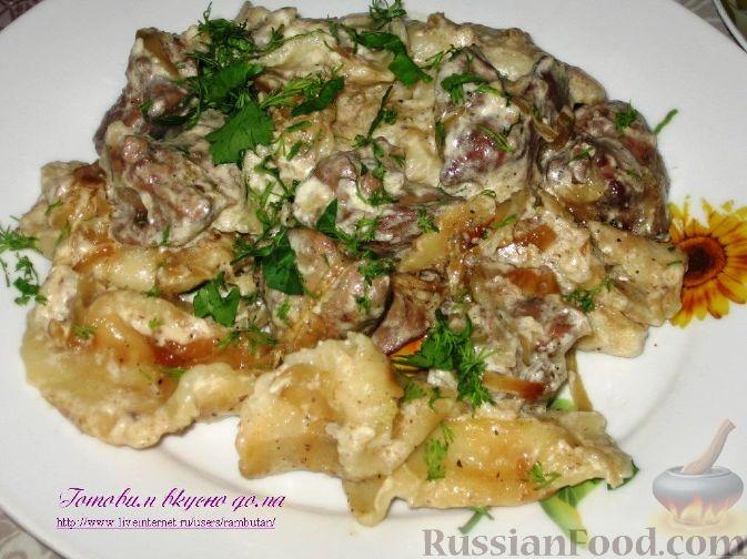 Рецепт Вареники с картофелем, тушенные с куриной печенью в горшочках