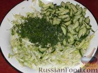 Фото приготовления рецепта: Салат из свежей капусты с огурцами - шаг №7