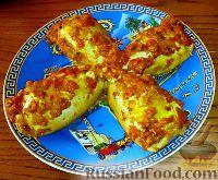 Фото к рецепту: Кальмары, фаршированные рисом (Yemisto kalamari me ryzi)