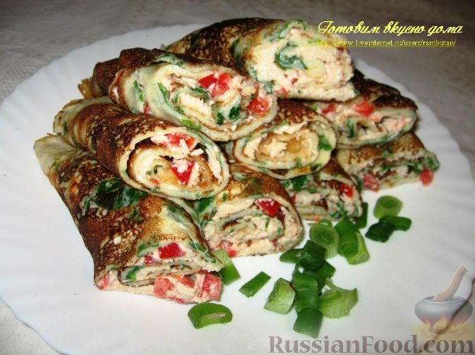 Рецепт Блины со шпинатом и болгарским перцем