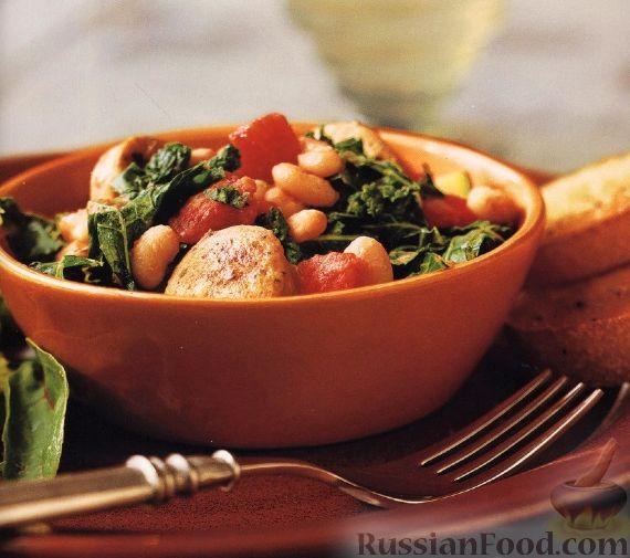 Рецепт Быстрое рагу с колбасой и фасолью