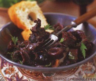 Рецепт Кальмары в красном вине