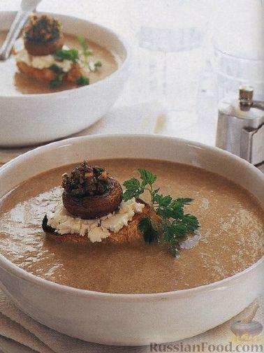 Рецепт Грибной суп-пюре с сырными гренками