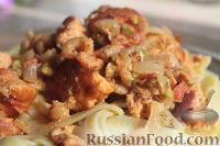 Фото к рецепту: Лосось (форель, семга) под соусом с креветками и фисташками