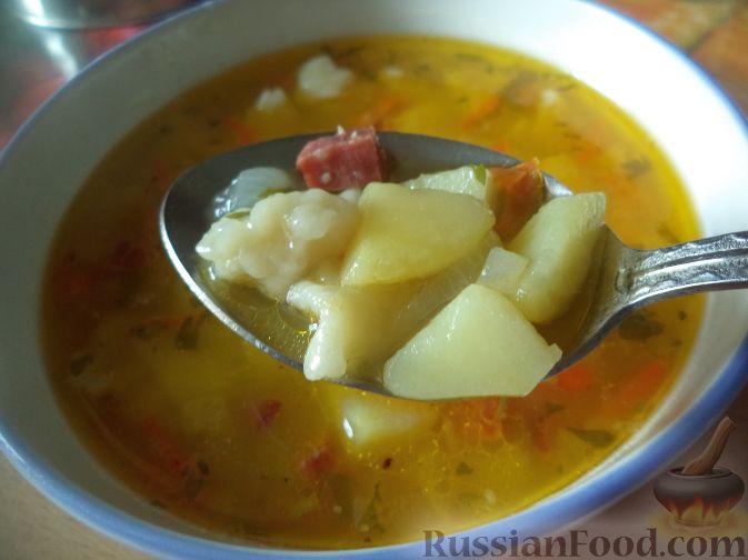 Суп пюре с колбасой и картошкой