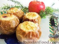 Фото к рецепту: Запеченные яблоки с творогом и персиками