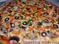 Фото к рецепту: Пицца с ветчиной и грибами