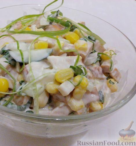 Салат из курицы репчатого лука свежего огурца