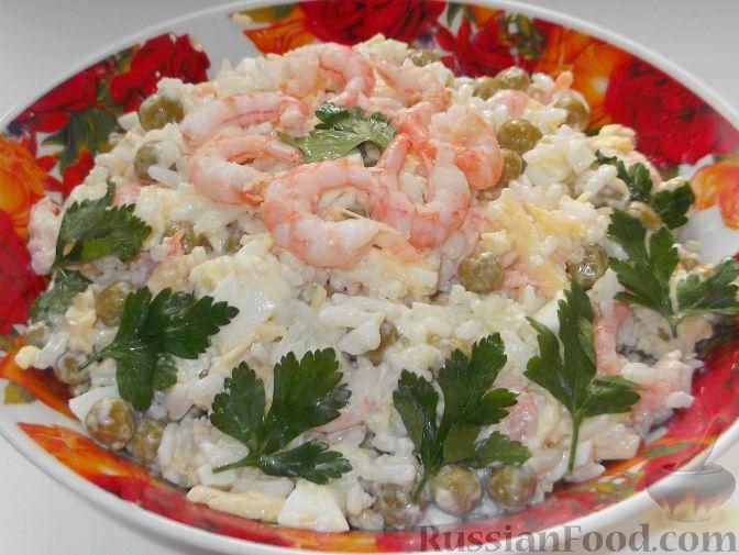 Салат с креветками и майонезом