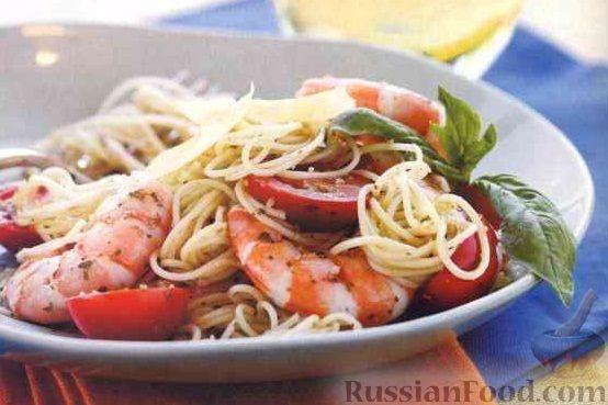 Креветки в сливочном соусе со спагетти и помидорами