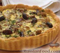 Фото к рецепту: Открытый пирог с грибами