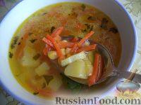 Фото к рецепту: Суп картофельный с консервированной кукурузой